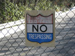No Trespassing sign in front of PARI entrance